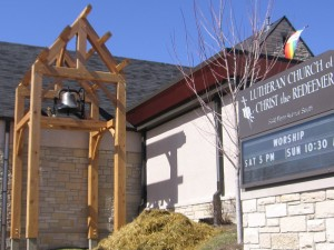 The Lutheran Church of Christ the Redeemer (ELCA) in south Minneapolis recently constructed a bell to tower. The bell will announce to the community both worship services and funerals.