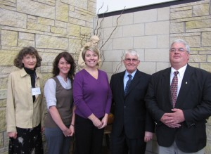 Lutheran and Catholic social services providers meet to coordinate some programming. From left: Sister Lois (CC Project Rachel), Leah Michaelis (LSS Financial Counseling), Cherrish Holland (LSS Financial Counseling), Walt Zimmermann (LSS Guardianship Options); Tom Keaveny (director, Catholic Charities for the Diocese of New Ulm).