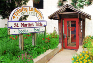 Saint Martin's Table, a restaurant and bookstore located near Augsburg College, in the Cedar Riverside neighborhood of Minneapolis, has provided good food and books for 25 years.