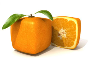 The ELCA will discuss and vote on a proposed social statement about genetics at its churchwide assembly in August. The orange fruit cube (above) is a graphic artist's three-dimensional rendition of the types of changes some expect genetic modification to bring. Stock image: 123RF
