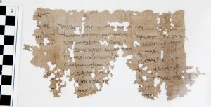 "This fragment of 1st Century papyrus was recently discovered by a work study student in the Orlando W. Qualley collection at the Luther College Archives, housed in the school's library. For more information about this discovery, read ""Ancient Egyptian papyri found in Luther College collection"" on page 10. Photo provided by Luther College"
