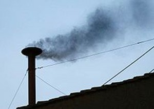 Black smoke from a chimney in the Sistine Chapel announces that two-thirds of the Papal Conclave did not agree on a future pope of the Roman Catholic Church.