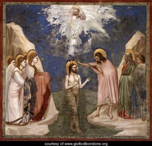 Giotto di Bondone's Baptism of the Lord is a celebrated rendition of John's baptism of Jesus with a community gathered. Giotto, who painted this work from 1304 to 1306, was an Italian artist well-known for his series of 23 works on the life of Christ. Graphic courtesy of www.giottodibondone.org.