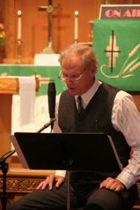 "New Frontier Lutheran Radio Hour host Graydon Royce is ""on air"" in the sanctuary of Diamond Lake Lutheran Church in Minneapolis."